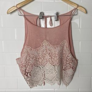 LA HEARTS/PACSUN Pink Lace Crop top